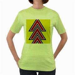 Chevron Symbols Multiple Large Red Yellow Women s Green T Shirt by Mariart