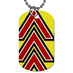 Chevron Symbols Multiple Large Red Yellow Dog Tag (one Side) by Mariart