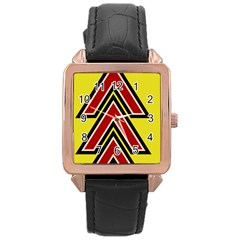 Chevron Symbols Multiple Large Red Yellow Rose Gold Leather Watch  by Mariart