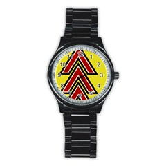 Chevron Symbols Multiple Large Red Yellow Stainless Steel Round Watch by Mariart