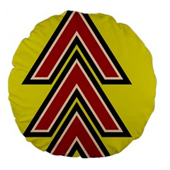 Chevron Symbols Multiple Large Red Yellow Large 18  Premium Flano Round Cushions by Mariart