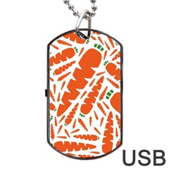 Carrots Fruit Vegetable Orange Dog Tag Usb Flash (two Sides) by Mariart