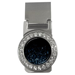 Blue Glowing Star Particle Random Motion Graphic Space Black Money Clips (cz)  by Mariart