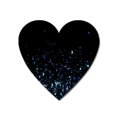 Blue Glowing Star Particle Random Motion Graphic Space Black Heart Magnet by Mariart