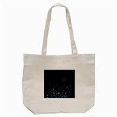 Blue Glowing Star Particle Random Motion Graphic Space Black Tote Bag (cream) by Mariart