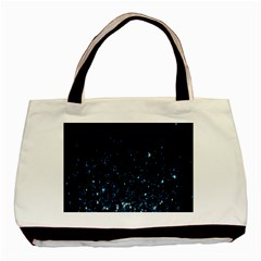 Blue Glowing Star Particle Random Motion Graphic Space Black Basic Tote Bag by Mariart