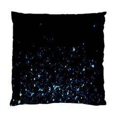 Blue Glowing Star Particle Random Motion Graphic Space Black Standard Cushion Case (one Side) by Mariart