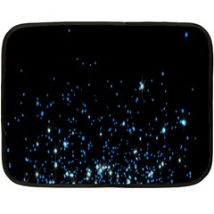 Blue Glowing Star Particle Random Motion Graphic Space Black Double Sided Fleece Blanket (mini)  by Mariart