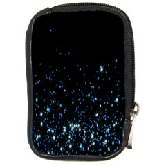 Blue Glowing Star Particle Random Motion Graphic Space Black Compact Camera Cases by Mariart