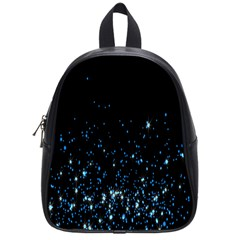 Blue Glowing Star Particle Random Motion Graphic Space Black School Bag (small) by Mariart