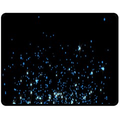 Blue Glowing Star Particle Random Motion Graphic Space Black Fleece Blanket (medium)  by Mariart