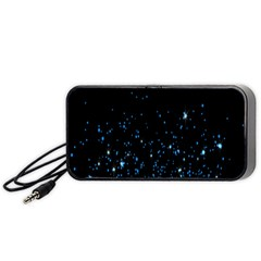 Blue Glowing Star Particle Random Motion Graphic Space Black Portable Speaker (black) by Mariart