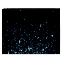 Blue Glowing Star Particle Random Motion Graphic Space Black Cosmetic Bag (xxxl)  by Mariart