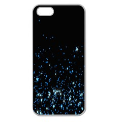 Blue Glowing Star Particle Random Motion Graphic Space Black Apple Seamless Iphone 5 Case (clear) by Mariart