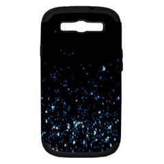 Blue Glowing Star Particle Random Motion Graphic Space Black Samsung Galaxy S Iii Hardshell Case (pc+silicone) by Mariart