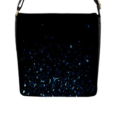 Blue Glowing Star Particle Random Motion Graphic Space Black Flap Messenger Bag (l)  by Mariart