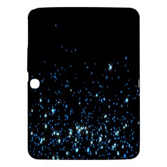 Blue Glowing Star Particle Random Motion Graphic Space Black Samsung Galaxy Tab 3 (10 1 ) P5200 Hardshell Case  by Mariart
