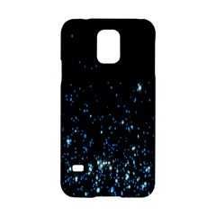 Blue Glowing Star Particle Random Motion Graphic Space Black Samsung Galaxy S5 Hardshell Case  by Mariart