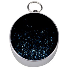 Blue Glowing Star Particle Random Motion Graphic Space Black Silver Compasses by Mariart
