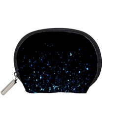 Blue Glowing Star Particle Random Motion Graphic Space Black Accessory Pouches (small)  by Mariart