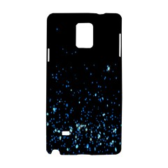Blue Glowing Star Particle Random Motion Graphic Space Black Samsung Galaxy Note 4 Hardshell Case by Mariart