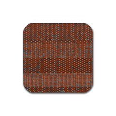 Brick Wall Brown Line Rubber Square Coaster (4 Pack)  by Mariart