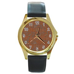 Brick Wall Brown Line Round Gold Metal Watch by Mariart