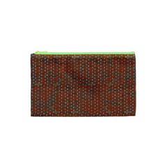 Brick Wall Brown Line Cosmetic Bag (xs) by Mariart