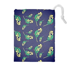 Canaries Budgie Pattern Bird Animals Cute Drawstring Pouches (extra Large) by Mariart