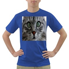 Cat Face Eyes Gray Fluffy Cute Animals Dark T Shirt