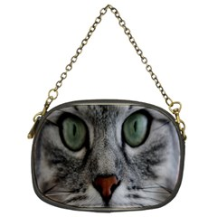 Cat Face Eyes Gray Fluffy Cute Animals Chain Purses (two Sides)  by Mariart