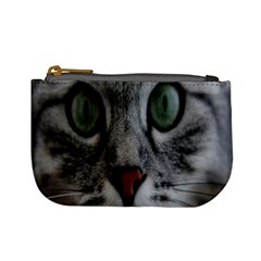 Cat Face Eyes Gray Fluffy Cute Animals Mini Coin Purses by Mariart