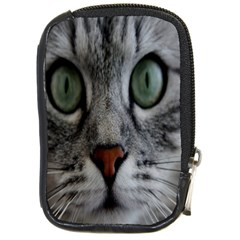 Cat Face Eyes Gray Fluffy Cute Animals Compact Camera Cases by Mariart