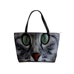 Cat Face Eyes Gray Fluffy Cute Animals Shoulder Handbags by Mariart