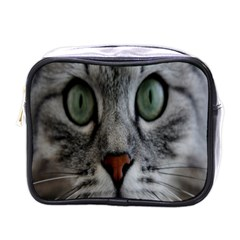 Cat Face Eyes Gray Fluffy Cute Animals Mini Toiletries Bags by Mariart