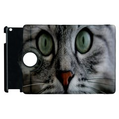 Cat Face Eyes Gray Fluffy Cute Animals Apple Ipad 3/4 Flip 360 Case by Mariart