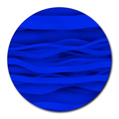 Dark Blue Stripes Seamless Round Mousepads by Mariart