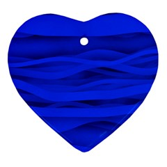 Dark Blue Stripes Seamless Heart Ornament (two Sides) by Mariart