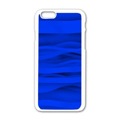 Dark Blue Stripes Seamless Apple Iphone 6/6s White Enamel Case by Mariart