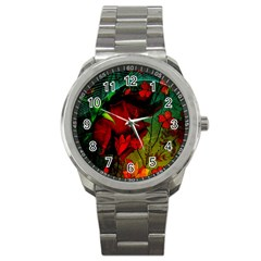 Flower Power, Wonderful Flowers, Vintage Design Sport Metal Watch by FantasyWorld7
