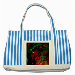Flower Power, Wonderful Flowers, Vintage Design Striped Blue Tote Bag by FantasyWorld7