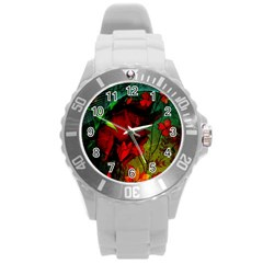 Flower Power, Wonderful Flowers, Vintage Design Round Plastic Sport Watch (l) by FantasyWorld7