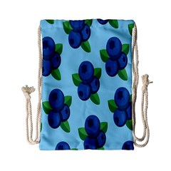 Fruit Nordic Grapes Green Blue Drawstring Bag (small) by Mariart