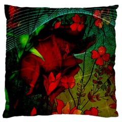 Flower Power, Wonderful Flowers, Vintage Design Large Cushion Case (two Sides) by FantasyWorld7