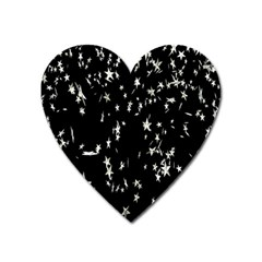 Falling Spinning Silver Stars Space White Black Heart Magnet by Mariart
