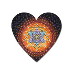 Cosmik Triangle Space Rainbow Light Blue Gold Orange Heart Magnet by Mariart