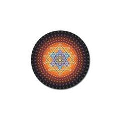 Cosmik Triangle Space Rainbow Light Blue Gold Orange Golf Ball Marker by Mariart