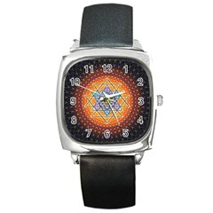 Cosmik Triangle Space Rainbow Light Blue Gold Orange Square Metal Watch by Mariart