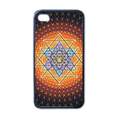 Cosmik Triangle Space Rainbow Light Blue Gold Orange Apple Iphone 4 Case (black) by Mariart