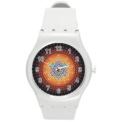 Cosmik Triangle Space Rainbow Light Blue Gold Orange Round Plastic Sport Watch (m) by Mariart